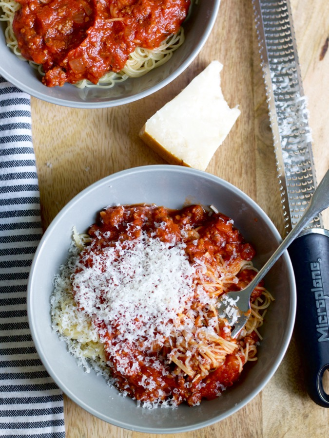 Nana's spaghetti sauce is thick, meaty, and hearty, and I love to make a big batch and stock my freezer with it!