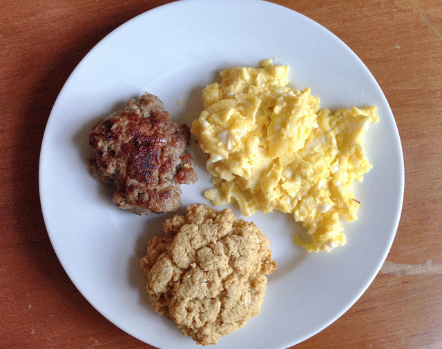 homemade breakfast sausage, cornmeal maple drop biscuit, scrambled eggs