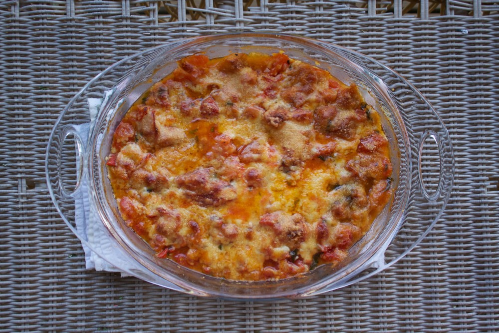 bubbly, cheesy rustic tomato bake