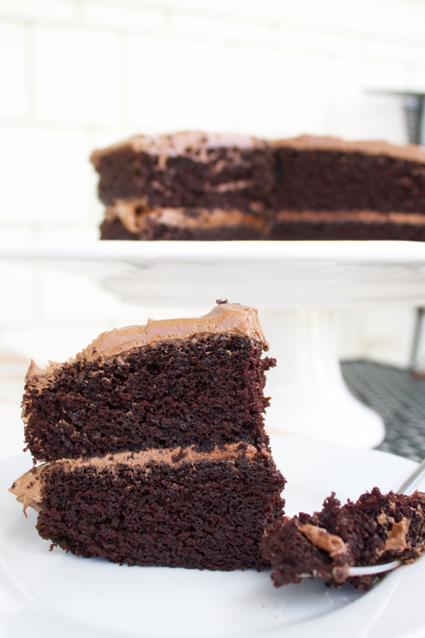 chocolate cake with chocolate icing