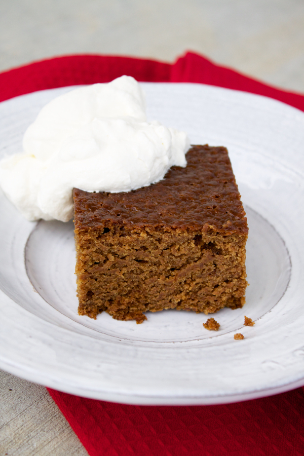 old-fashioned gingerbread with whipped cream